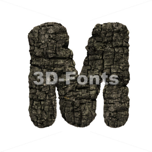 charred wood character M – Capital 3d letter – 3D Fonts Collections | Top Quality Letters, Numbers and Symbols !