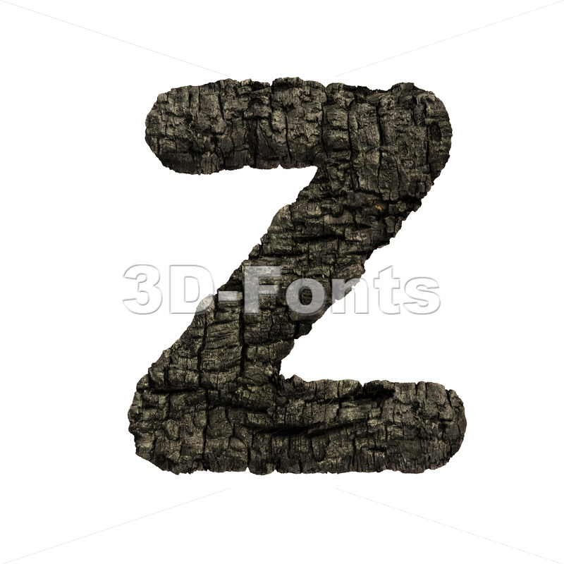 charred wood alphabet letter Z - Upper-case 3d font - 3D Fonts Collections | Top Quality Letters, Numbers and Symbols !