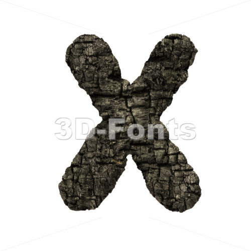 charred wood character X – Upper-case 3d letter – 3D Fonts Collections | Top Quality Letters, Numbers and Symbols !