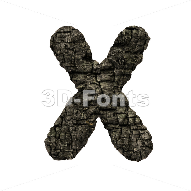 charred wood character X - Upper-case 3d letter - 3D Fonts Collections | Top Quality Letters, Numbers and Symbols !