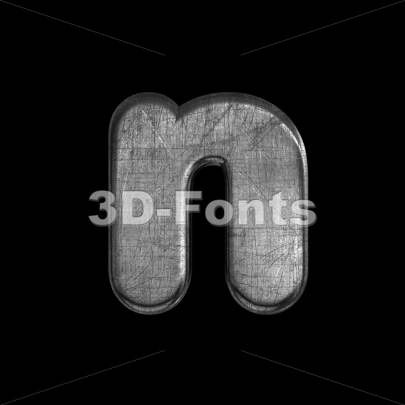 Lower-case metal letter N - Small 3d font - 3D Fonts Collections | Top Quality Letters, Numbers and Symbols !