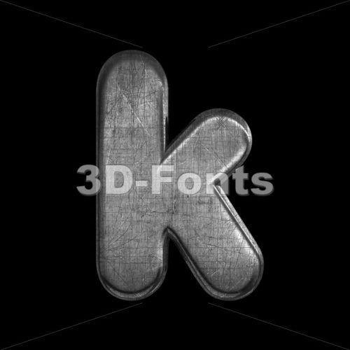 Lower-case scratched silver character K – Small 3d letter – 3D Fonts Collections | Top Quality Letters, Numbers and Symbols !