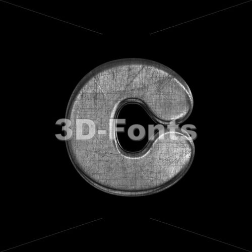 Small metal font C – Lowercase 3d character – 3D Fonts Collections | Top Quality Letters, Numbers and Symbols !