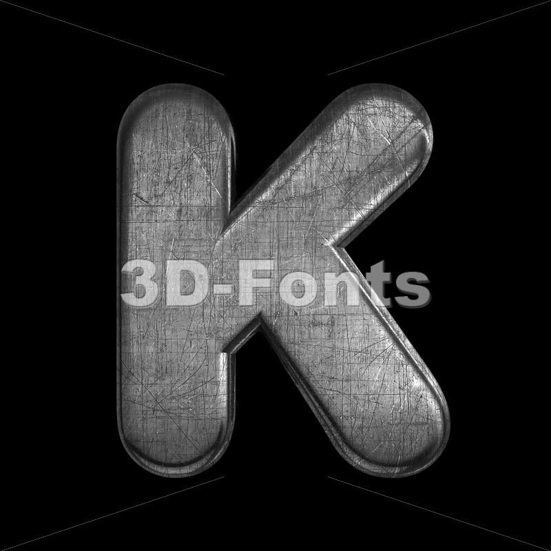 Uppercase metal letter K - Capital 3d font - 3D Fonts Collections | Top Quality Letters, Numbers and Symbols !
