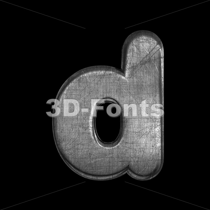brushed iron alphabet letter D - Lowercase 3d font - 3D Fonts Collections | Top Quality Letters, Numbers and Symbols !