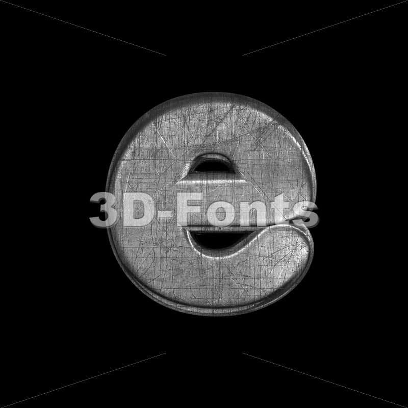 brushed metal 3d character E - Lower-case 3d letter - 3D Fonts Collections | Top Quality Letters, Numbers and Symbols !