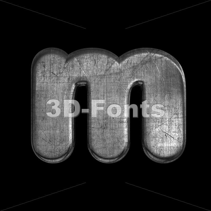 brushed metal 3d font M - Lowercase 3d letter - 3D Fonts Collections | Top Quality Letters, Numbers and Symbols !