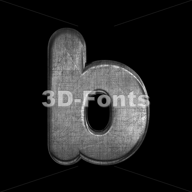 brushed metal alphabet character B - Lower-case 3d letter - 3D Fonts Collections | Top Quality Letters, Numbers and Symbols !