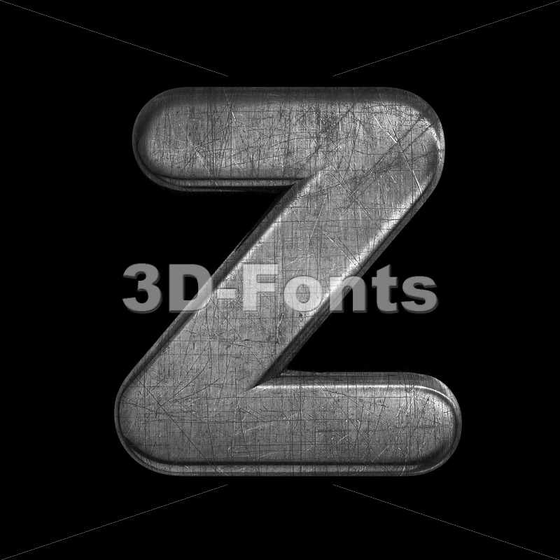 brushed metal alphabet letter Z - Upper-case 3d font - 3D Fonts Collections | Top Quality Letters, Numbers and Symbols !