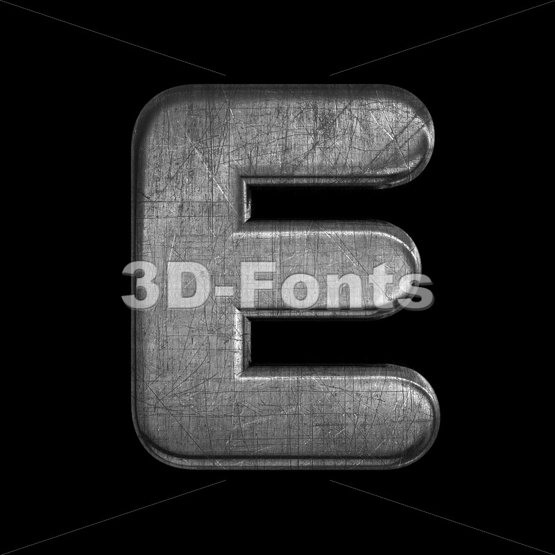 brushed metal character E - Capital 3d letter - 3D Fonts Collections   Top Quality Letters, Numbers and Symbols !