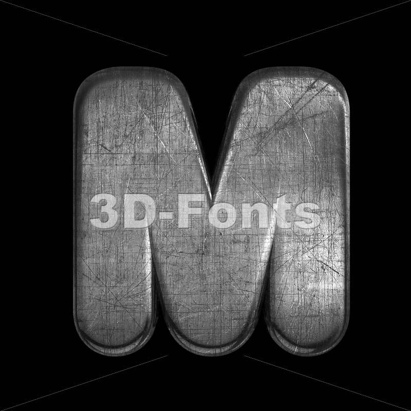 brushed metal character M - Capital 3d letter - 3D Fonts Collections | Top Quality Letters, Numbers and Symbols !