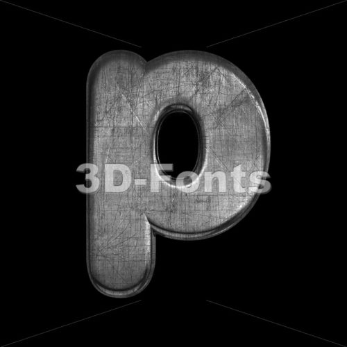 brushed metal character P – Lowercase 3d font – 3D Fonts Collections | Top Quality Letters, Numbers and Symbols !