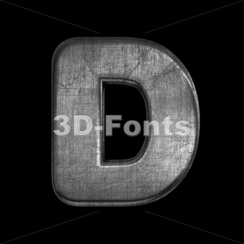 brushed metal font D - Capital 3d character - 3D Fonts Collections | Top Quality Letters, Numbers and Symbols !