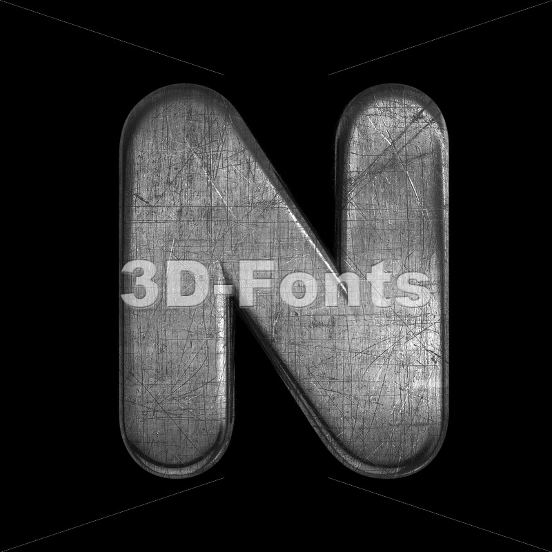 brushed metal font N - Capital 3d letter - 3D Fonts Collections | Top Quality Letters, Numbers and Symbols !