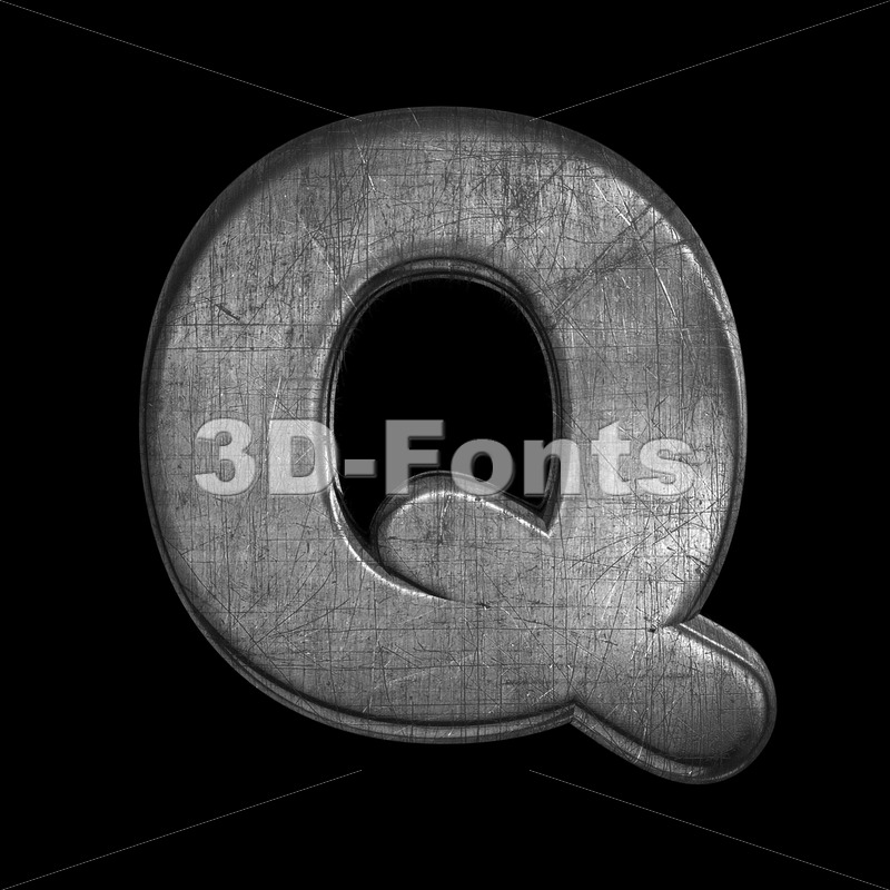 brushed metal font Q - Upper-case 3d character - 3D Fonts Collections | Top Quality Letters, Numbers and Symbols !