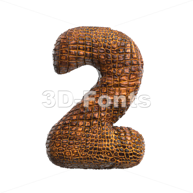 crocodile number 2 -  3d digit - 3D Fonts Collections | Top Quality Letters, Numbers and Symbols !