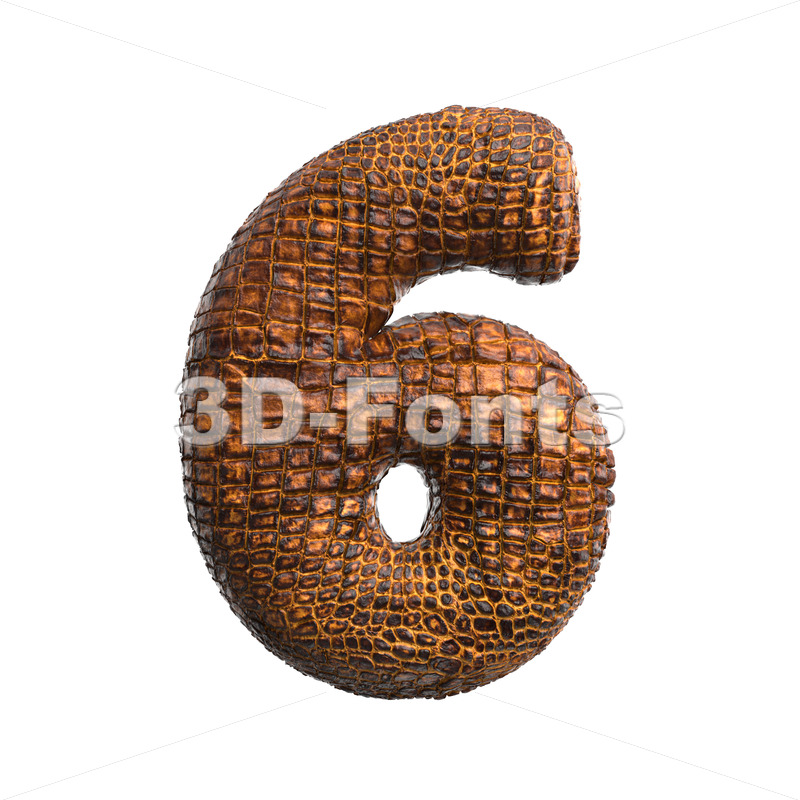 crocodile number 6 –  3d digit – 3D Fonts Collections | Top Quality Letters, Numbers and Symbols !