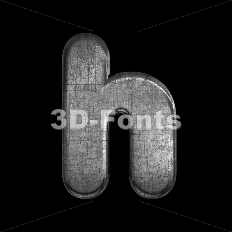 scratched silver font H - Lower-case 3d letter - 3D Fonts Collections | Top Quality Letters, Numbers and Symbols !