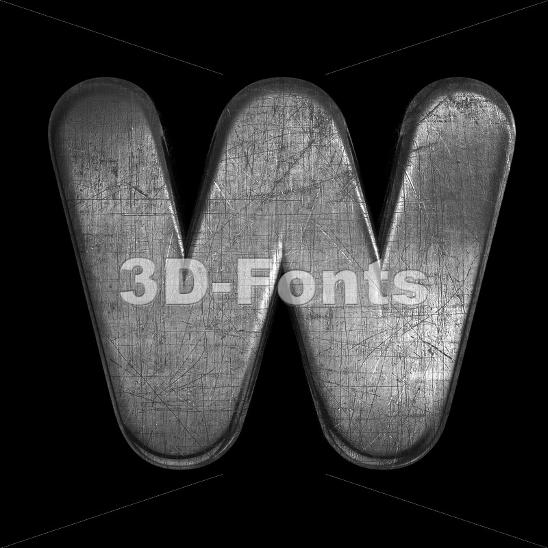 scratched silver font W - Capital 3d letter - 3D Fonts Collections | Top Quality Letters, Numbers and Symbols !