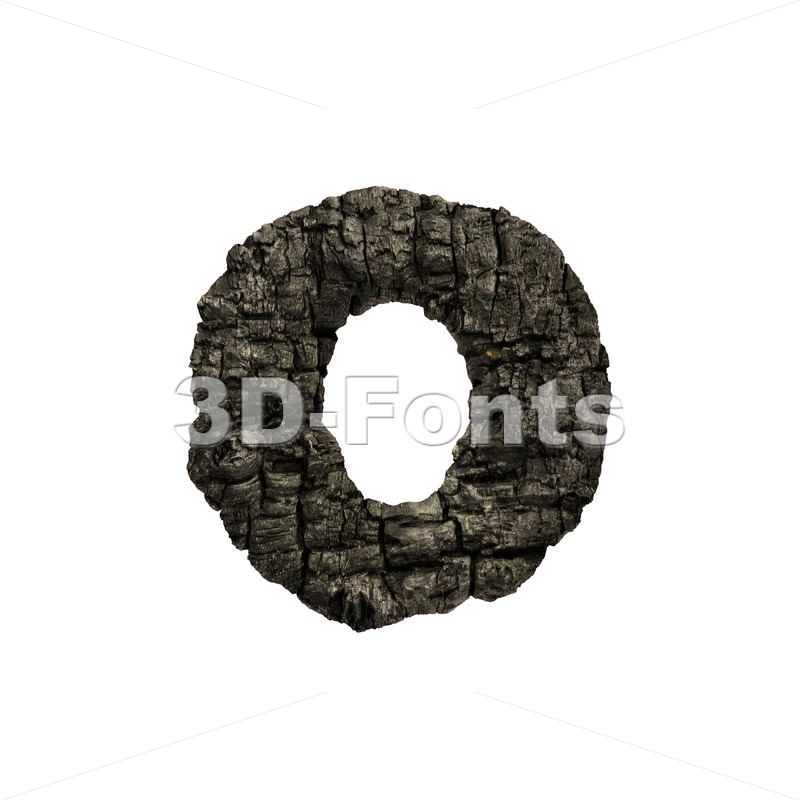 charred wood font O - Small 3d letter - 3D Fonts Collections | Top Quality Letters, Numbers and Symbols !