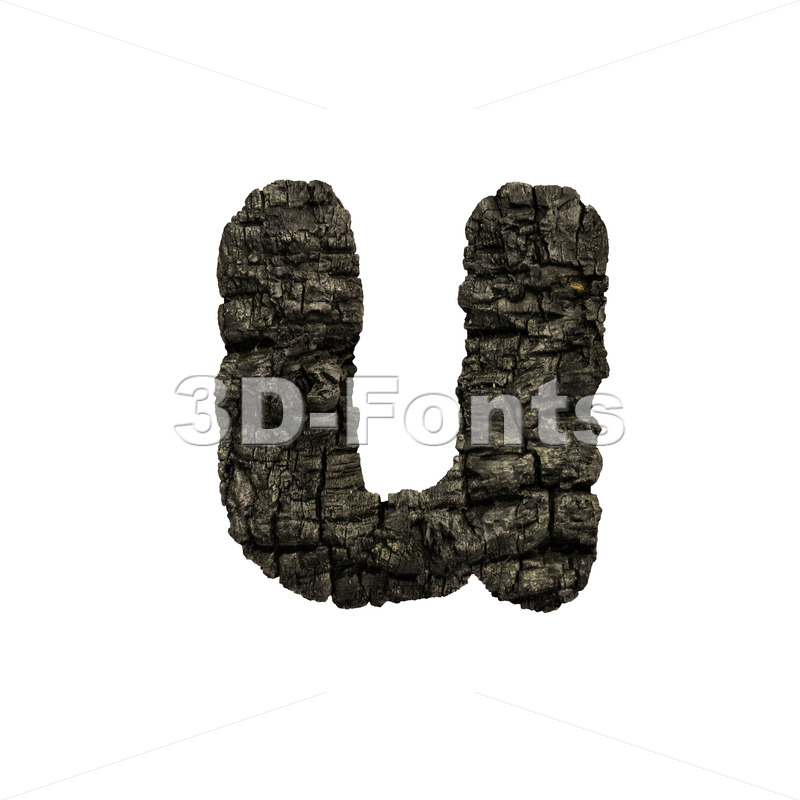 charred wood alphabet character U - Small 3d letter - 3D Fonts Collections | Top Quality Letters, Numbers and Symbols !