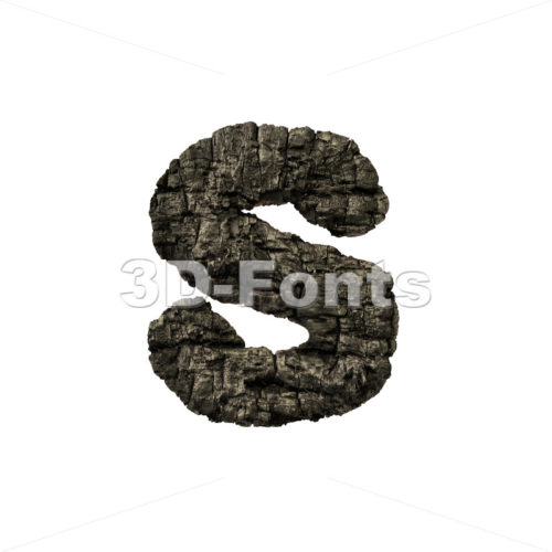 wood coal letter S – Lowercase 3d font – 3D Fonts Collections | Top Quality Letters, Numbers and Symbols !
