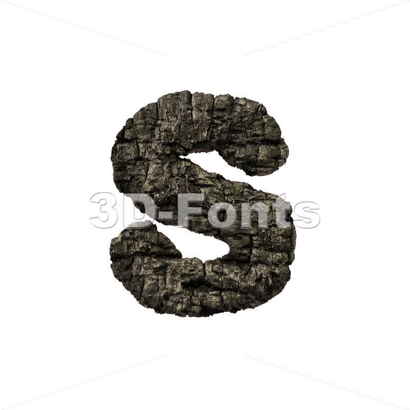 wood coal letter S - Lowercase 3d font - 3D Fonts Collections | Top Quality Letters, Numbers and Symbols !