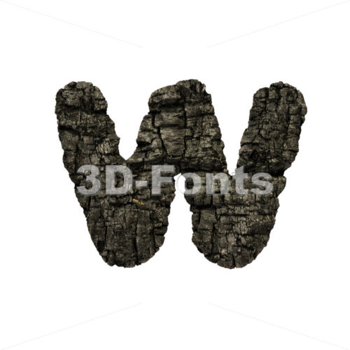charcoal alphabet letter W – Lower-case 3d character – 3D Fonts Collections | Top Quality Letters, Numbers and Symbols !