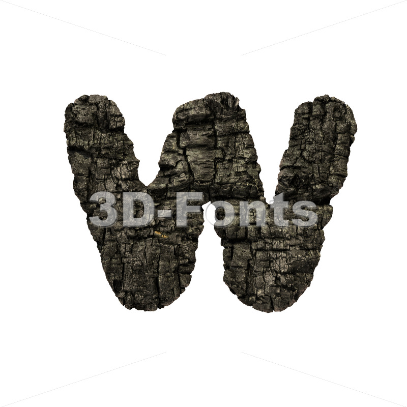 charcoal alphabet letter W - Lower-case 3d character - 3D Fonts Collections | Top Quality Letters, Numbers and Symbols !