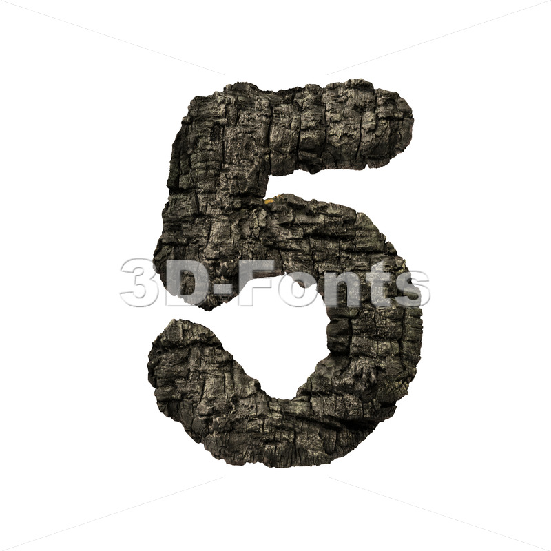 burnt wood digit 5 -  3d number - 3D Fonts Collections | Top Quality Letters, Numbers and Symbols !