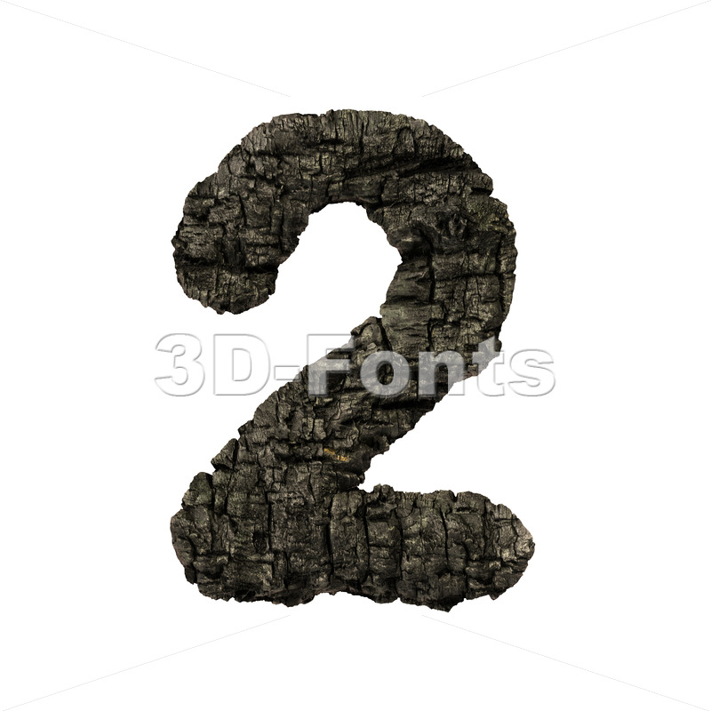 burnt wood number 2 -  3d digit - 3D Fonts Collections | Top Quality Letters, Numbers and Symbols !