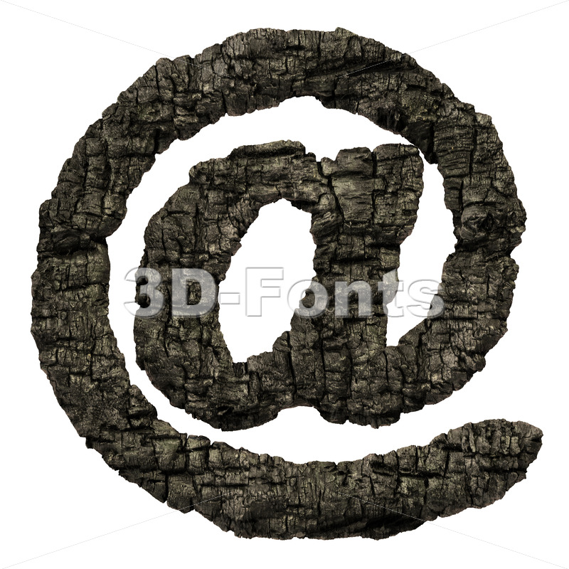 burnt wood at sign - 3d Arobase symbol - 3D Fonts Collections | Top Quality Letters, Numbers and Symbols !