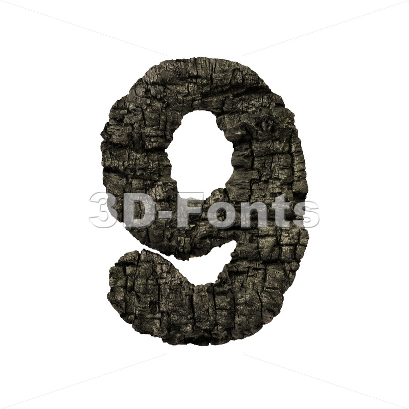 burnt wood digit 9 -  3d number - 3D Fonts Collections | Top Quality Letters, Numbers and Symbols !