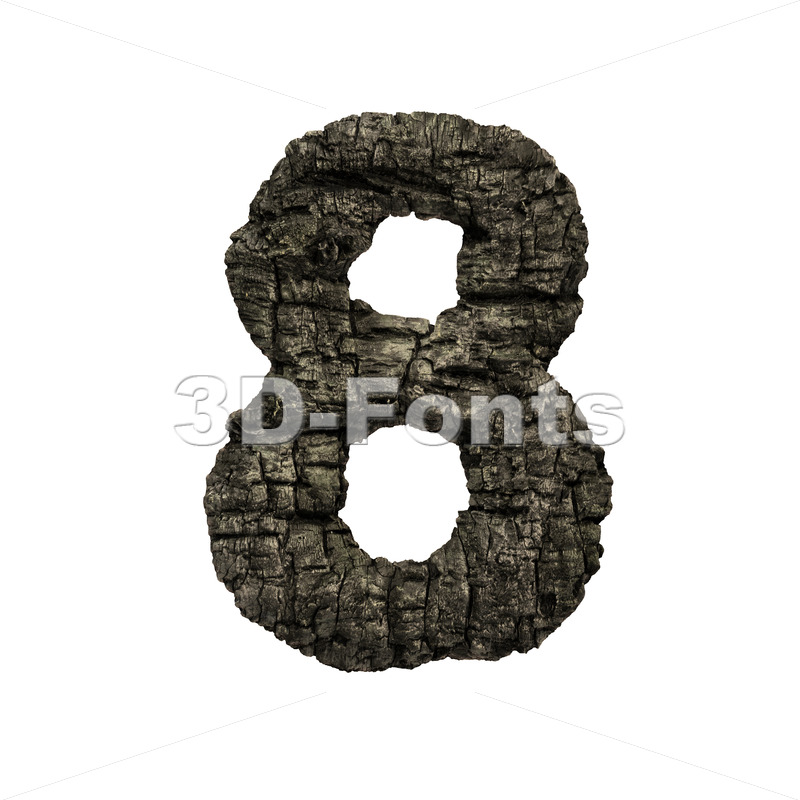 burnt wood number 8 -  3d digit - 3D Fonts Collections | Top Quality Letters, Numbers and Symbols !