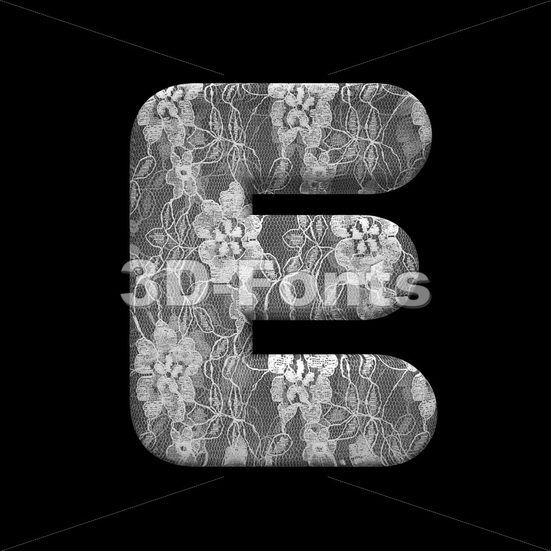 romantic character E - Capital 3d letter - 3D Fonts Collections | Top Quality Letters, Numbers and Symbols !