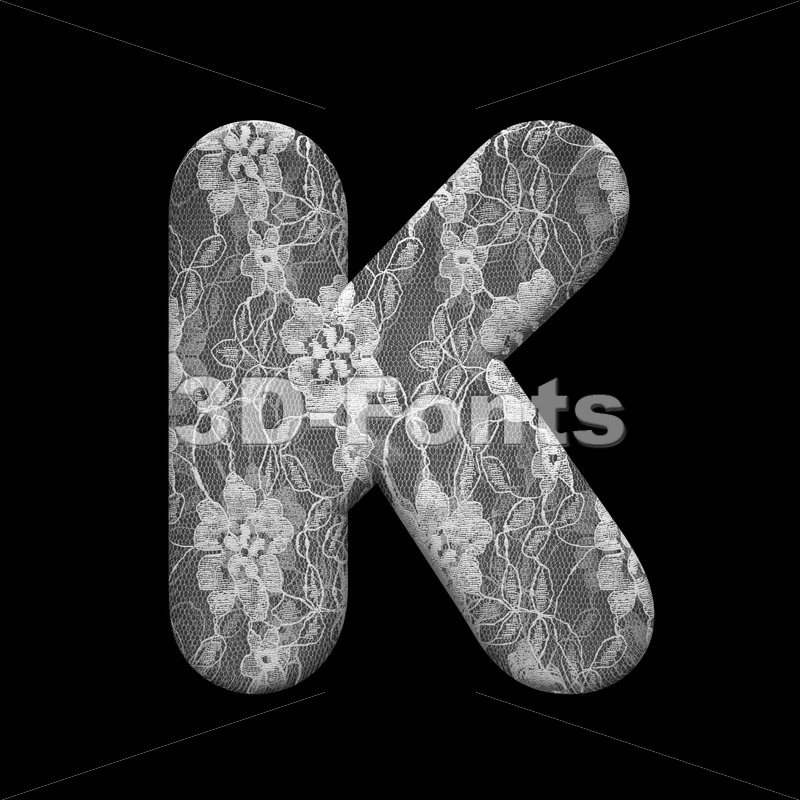 Uppercase lace letter K - Capital 3d font - 3D Fonts Collections | Top Quality Letters, Numbers and Symbols !