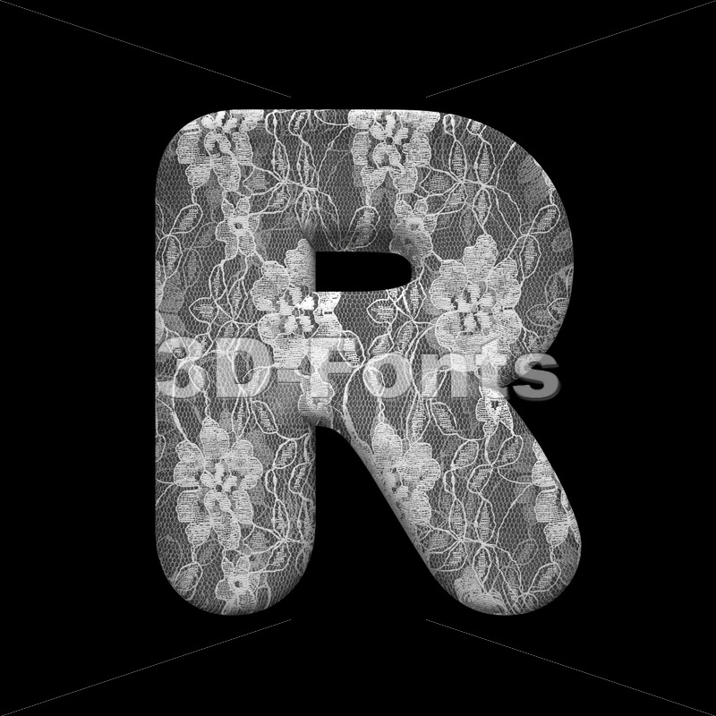 romantic letter R - Uppercase 3d font - 3D Fonts Collections | Top Quality Letters, Numbers and Symbols !