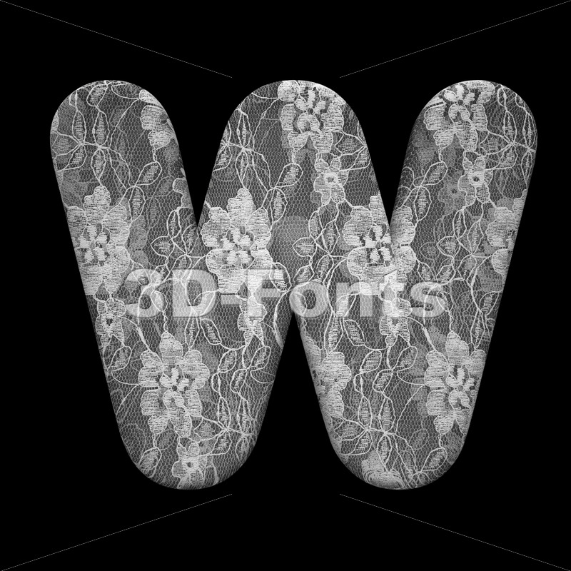 wedding font W - Capital 3d letter - 3D Fonts Collections | Top Quality Letters, Numbers and Symbols !