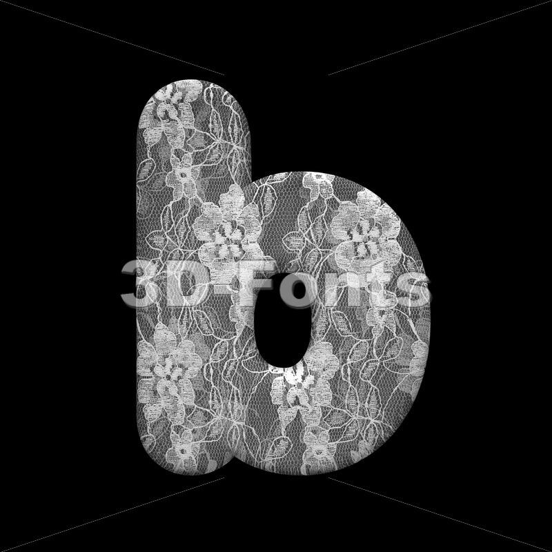 romantic alphabet character B - Lower-case 3d letter - 3D Fonts Collections | Top Quality Letters, Numbers and Symbols !