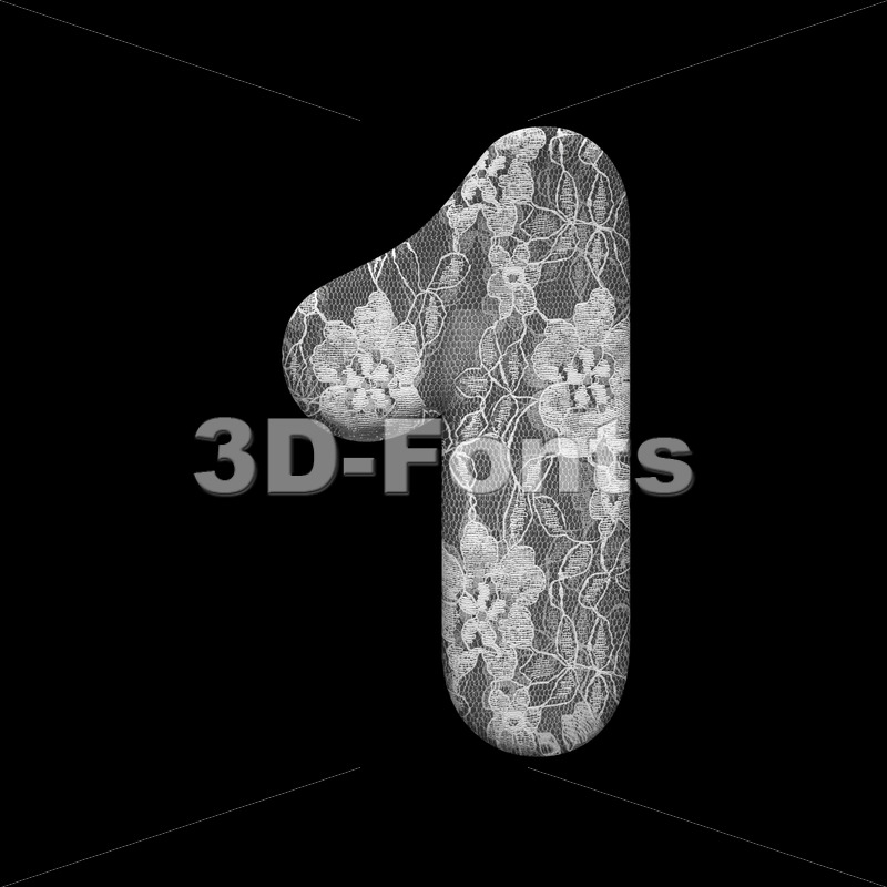 lace digit 1 -  3d number - 3D Fonts Collections | Top Quality Letters, Numbers and Symbols !