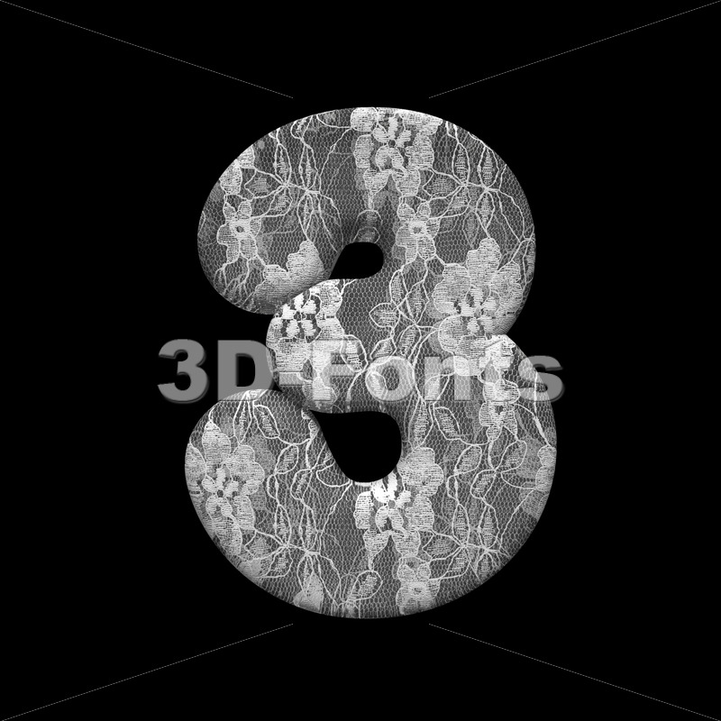lace digit 3 -  3d number - 3D Fonts Collections | Top Quality Letters, Numbers and Symbols !