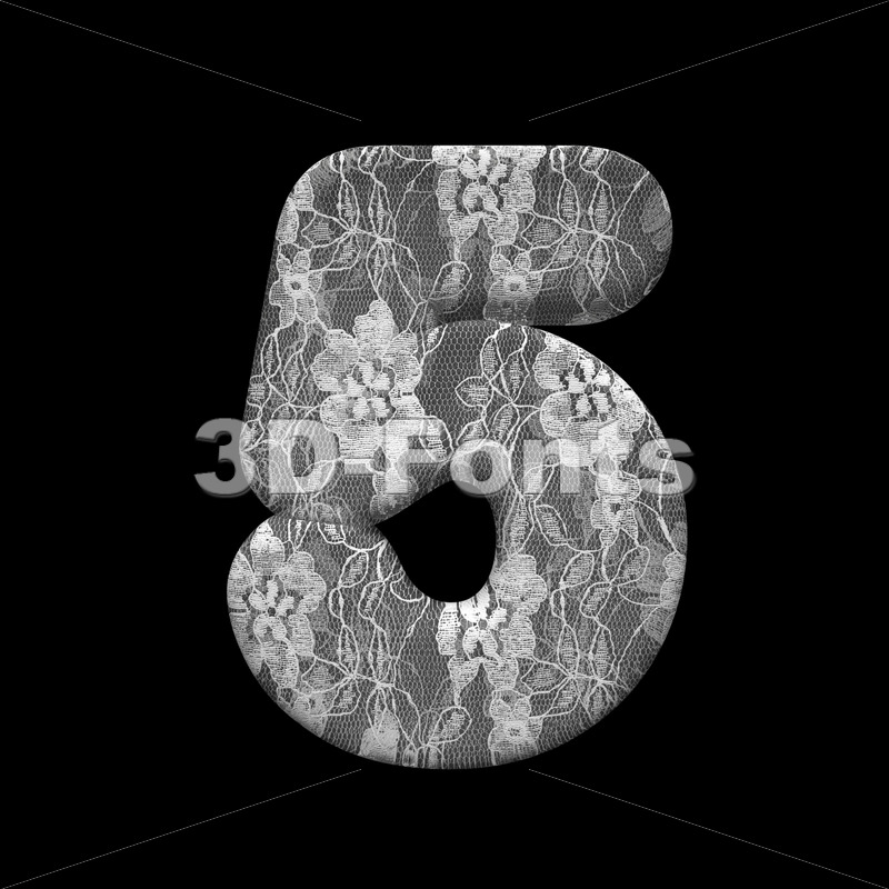 lace digit 5 -  3d number - 3D Fonts Collections | Top Quality Letters, Numbers and Symbols !