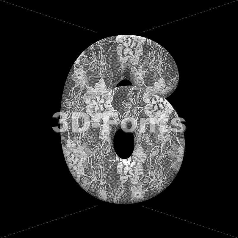 lace number 6 -  3d digit - 3D Fonts Collections | Top Quality Letters, Numbers and Symbols !
