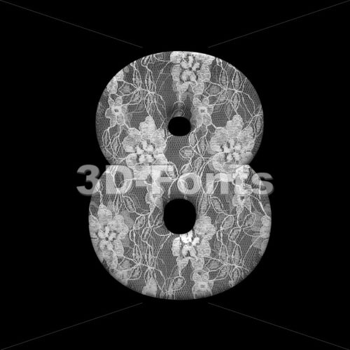 lace number 8 -  3d digit - 3D Fonts Collections | Top Quality Letters, Numbers and Symbols !