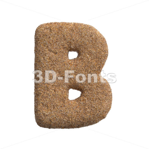 Capital sandy letter B - Uppercase 3d font - 3D Fonts Collections | Top Quality Letters, Numbers and Symbols !