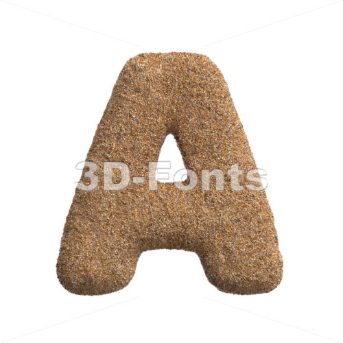 Sand letter A - Capital 3d character - 3D Fonts Collections | Top Quality Letters, Numbers and Symbols !