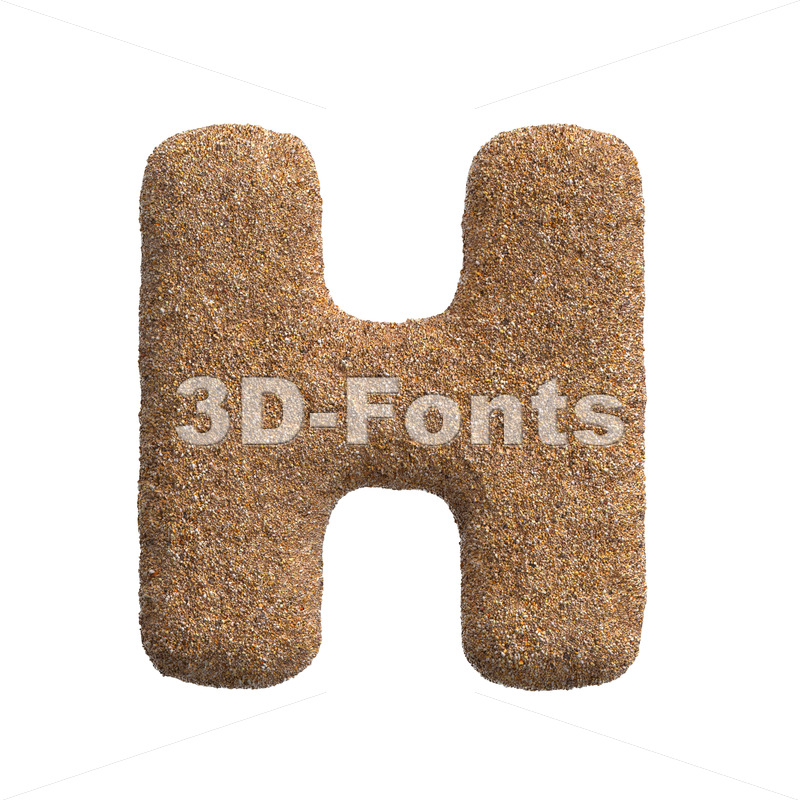 Sand 3d letter H - Upper-case 3d character - 3D Fonts Collections | Top Quality Letters, Numbers and Symbols !