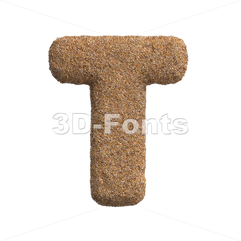 sandy character T - Uppercase 3d letter - 3D Fonts Collections | Top Quality Letters, Numbers and Symbols !