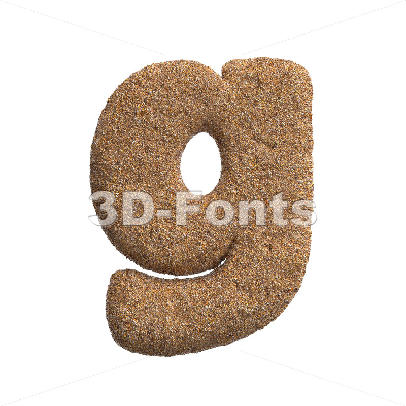 Lowercase Sand font G - Small 3d character - 3D Fonts Collections | Top Quality Letters, Numbers and Symbols !