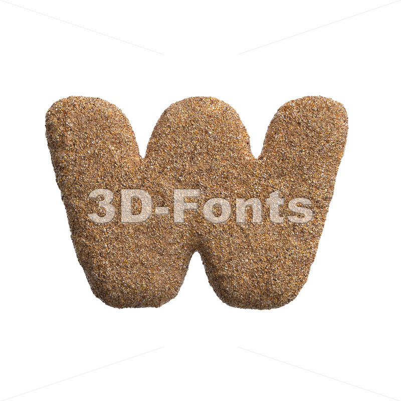 beach alphabet letter W - Lower-case 3d character - 3D Fonts Collections | Top Quality Letters, Numbers and Symbols !